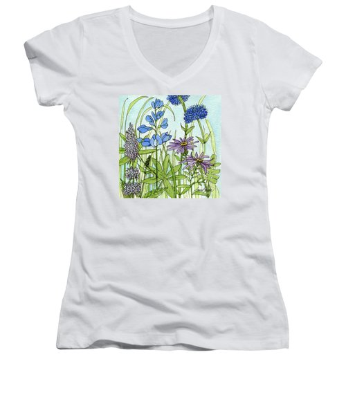 Blue Buttons Women's V-Neck T-Shirt