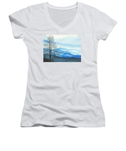 Women's V-Neck T-Shirt (Junior Cut) featuring the painting Blue Calm by Rachel Hames
