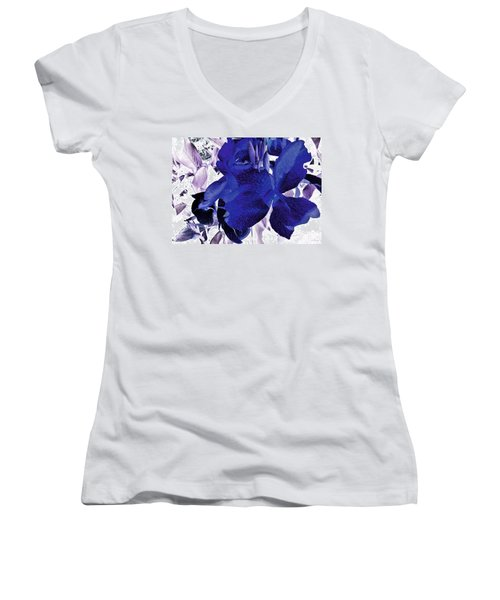 Women's V-Neck T-Shirt (Junior Cut) featuring the photograph Blue Canna Lily by Shawna Rowe