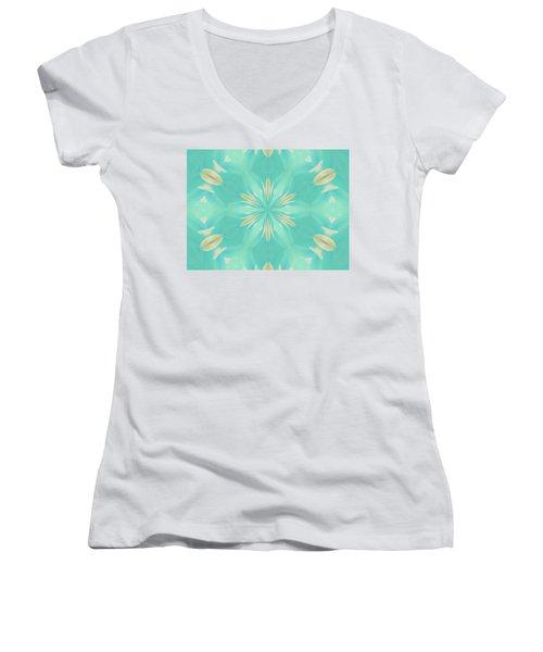 Women's V-Neck T-Shirt featuring the digital art Blue Coffee by Elizabeth Lock
