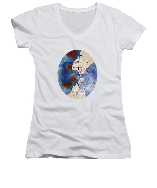 Blue Color Splash Women's V-Neck
