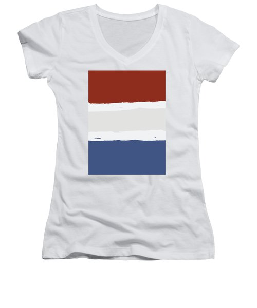 Blue Cream Red Stripes Women's V-Neck T-Shirt