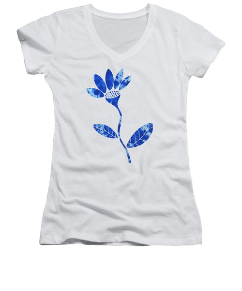 Blue Flower Women's V-Neck T-Shirt (Junior Cut) by Frank Tschakert
