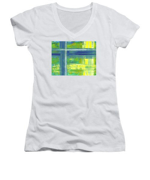 Blue Geometric Yellow Women's V-Neck T-Shirt