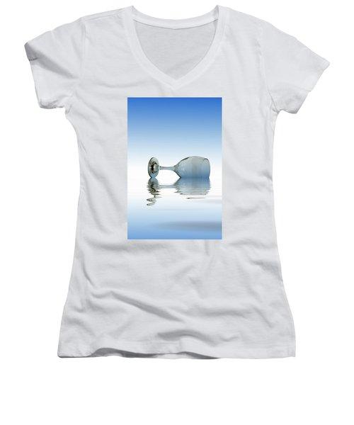 Blue Glass Women's V-Neck T-Shirt (Junior Cut)