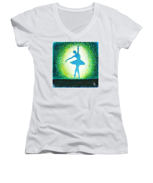 Women's V-Neck T-Shirt (Junior Cut) featuring the painting Blue-green Ballerina by Bob Baker