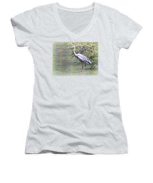 Blue Heron Women's V-Neck T-Shirt (Junior Cut) by Clarice  Lakota