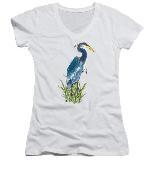 Blue Heron Women's V-Neck T-Shirt (Junior Cut) by Devon LeBoutillier