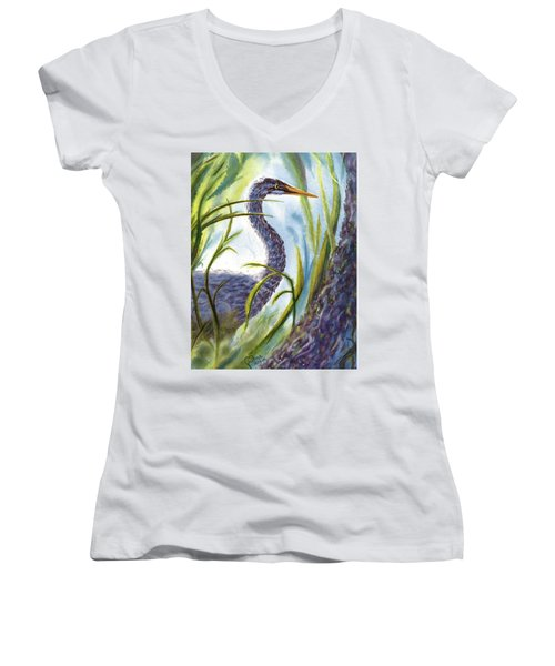 Blue Heron Women's V-Neck T-Shirt