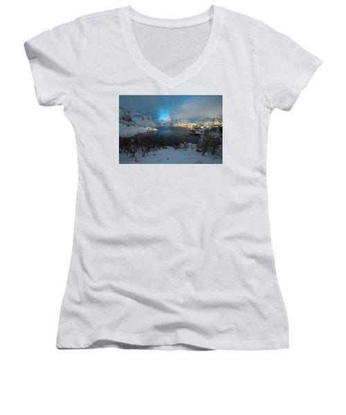 Women's V-Neck T-Shirt featuring the photograph Blue Hour Over Reine by Dubi Roman