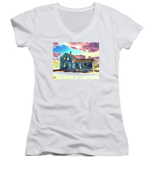 Women's V-Neck T-Shirt (Junior Cut) featuring the photograph Blue House by Jim and Emily Bush