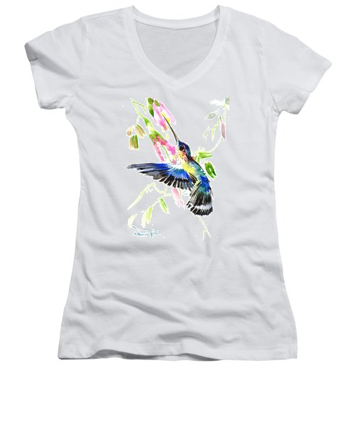 Blue Hummingbird Women's V-Neck T-Shirt