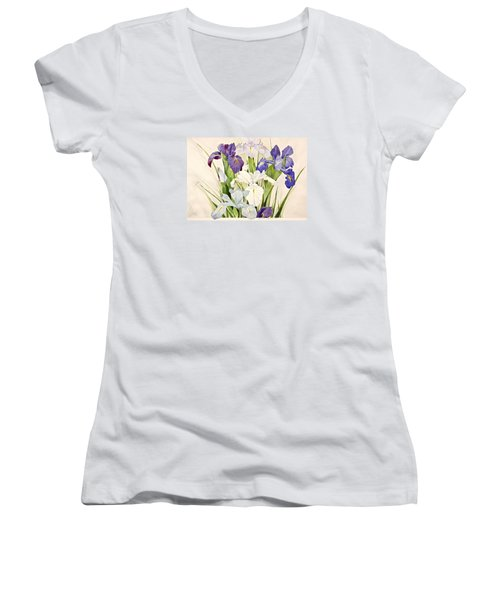 Blue Irises-posthumously Presented Paintings Of Sachi Spohn  Women's V-Neck T-Shirt (Junior Cut) by Cliff Spohn