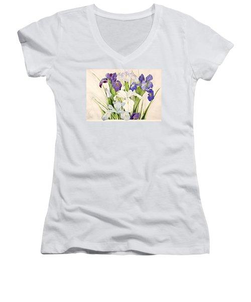Blue Irises-posthumously Presented Paintings Of Sachi Spohn  Women's V-Neck