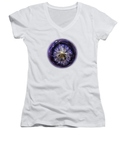 Blue Jelly Fish Orb On Transparent Background Women's V-Neck T-Shirt