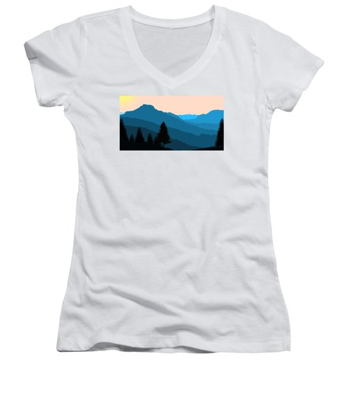 Blue Landscape Women's V-Neck
