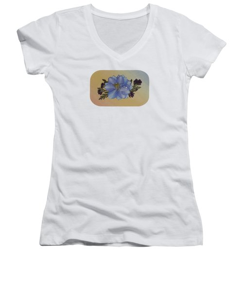 Blue Larkspur And Oregano Pressed Flower Arrangement Women's V-Neck