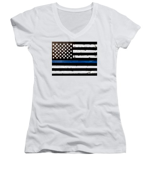 Women's V-Neck T-Shirt featuring the painting Blue Line Flag by Denise Tomasura
