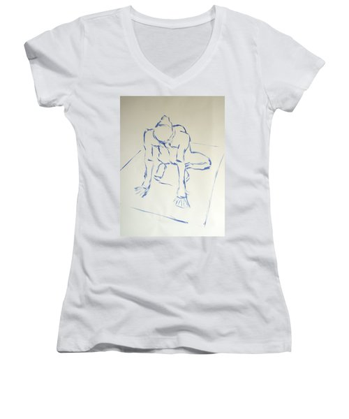 Blue Line Painting Of A Male Nude Kneeling On His Heels And Resting On Hands Which Are Behind Him Women's V-Neck