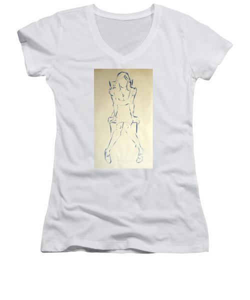 Blue Line Painting Of Woman Sat On Chair With Hands On The Sides Of Her Legs Women's V-Neck T-Shirt