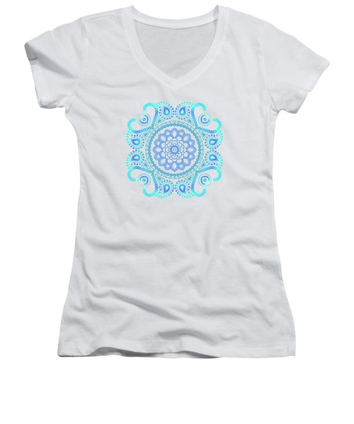 Blue Lotus Mandala Women's V-Neck (Athletic Fit)