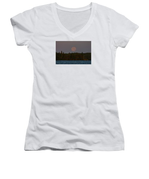 Women's V-Neck T-Shirt (Junior Cut) featuring the photograph Blue Moon Over Berry Lake by Steven Clipperton
