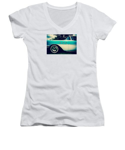 Blue  Women's V-Neck T-Shirt (Junior Cut) by Off The Beaten Path Photography - Andrew Alexander