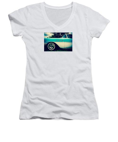 Blue  Women's V-Neck T-Shirt (Junior Cut)