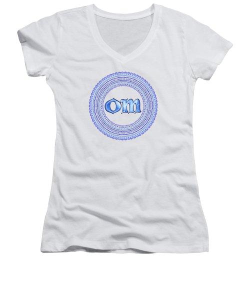 Women's V-Neck T-Shirt (Junior Cut) featuring the painting Blue Om Mandala by Tammy Wetzel