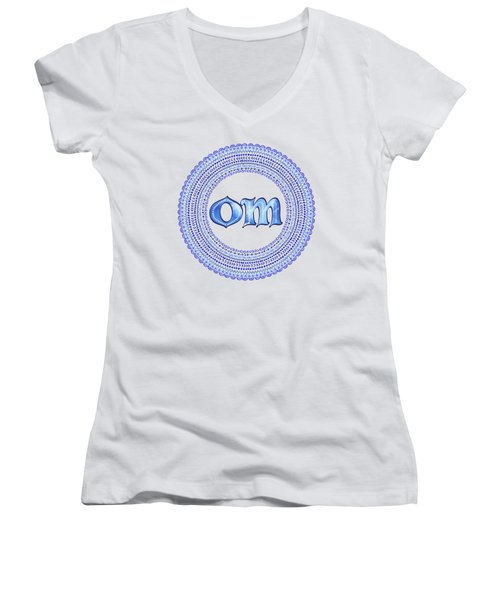 Blue Om Mandala Women's V-Neck T-Shirt (Junior Cut)