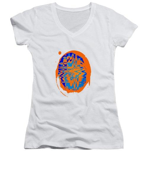 Blue Orange Abstract Art Women's V-Neck