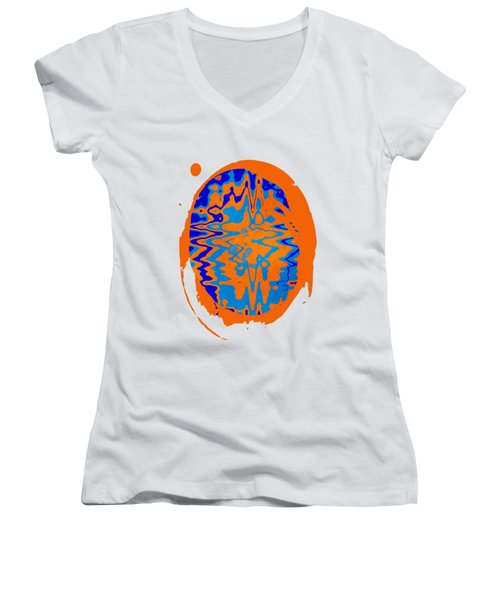 Blue Orange Abstract Art Women's V-Neck