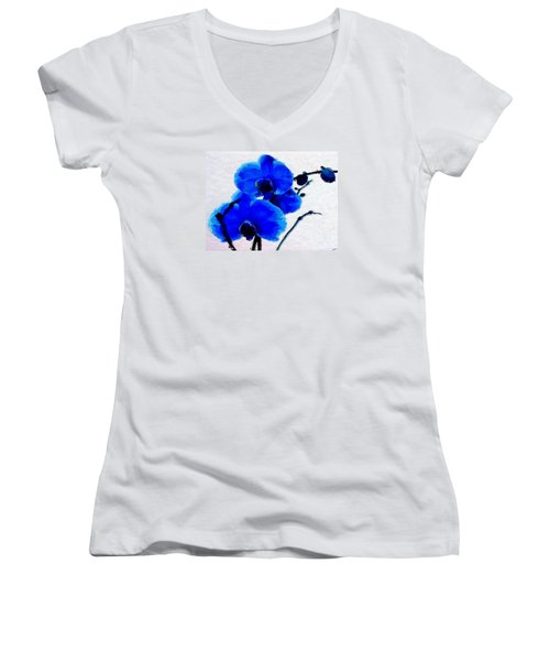 Blue Orchid  Women's V-Neck T-Shirt (Junior Cut) by Anthony Fishburne