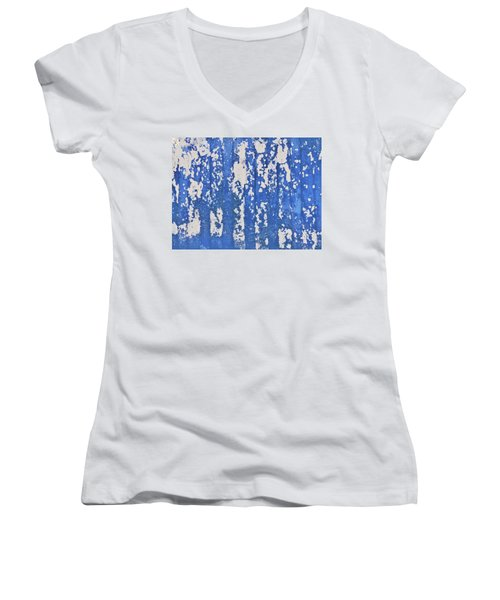 Blue Painted Metal Women's V-Neck T-Shirt