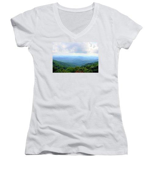 Women's V-Neck T-Shirt (Junior Cut) featuring the photograph Blue Ridge Parkway Overlook by Meta Gatschenberger