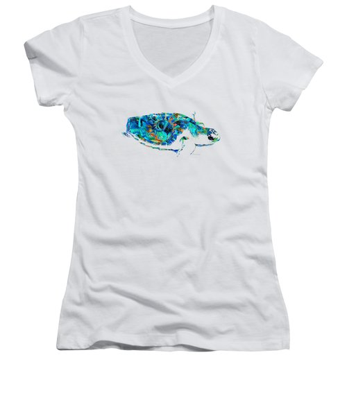 Blue Sea Turtle By Sharon Cummings  Women's V-Neck (Athletic Fit)