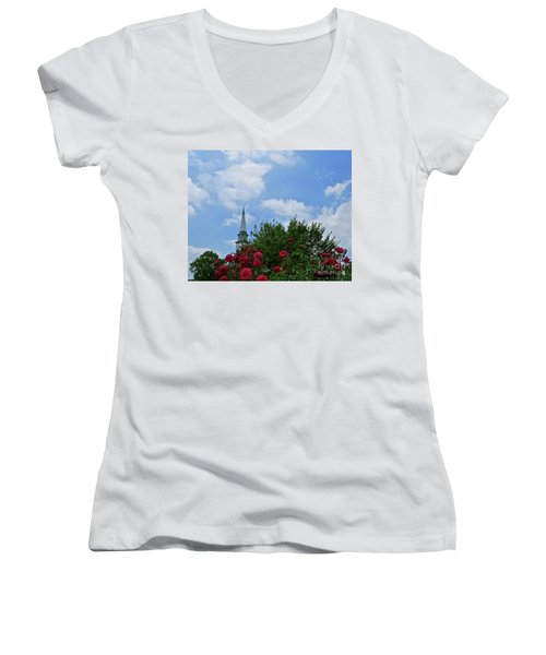 Blue Sky And Roses Women's V-Neck T-Shirt (Junior Cut) by Nancy Patterson