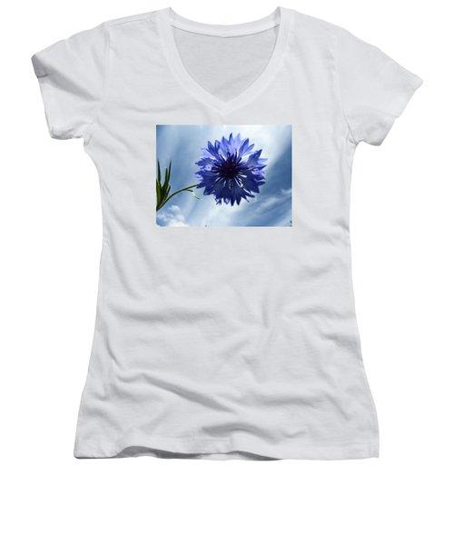 Blue Sky Blue Flower Women's V-Neck T-Shirt (Junior Cut) by Tina M Wenger