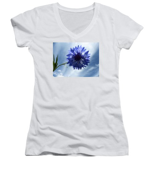 Blue Sky Blue Flower Women's V-Neck (Athletic Fit)