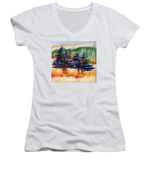 Blue Spruce Stand Women's V-Neck T-Shirt