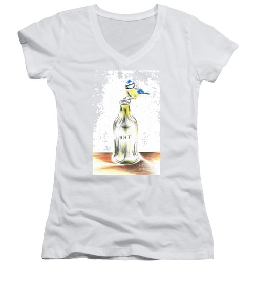 Blue Tit Loves The Cream Women's V-Neck T-Shirt