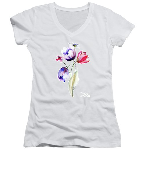 Blue Tulips Flowers With Wild Flowers Women's V-Neck (Athletic Fit)