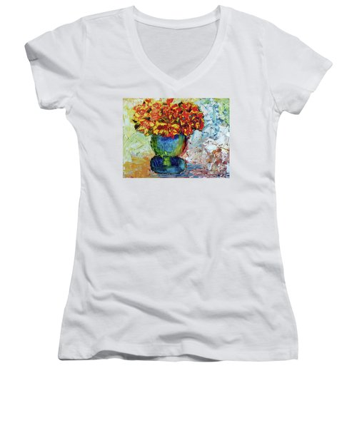 Blue Vase Women's V-Neck T-Shirt (Junior Cut) by Lynda Cookson