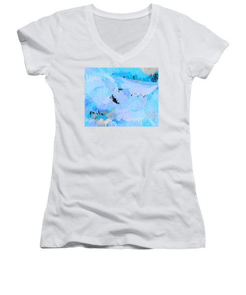 Blue Water Wet Sand Women's V-Neck T-Shirt (Junior Cut) by Stephanie Grant