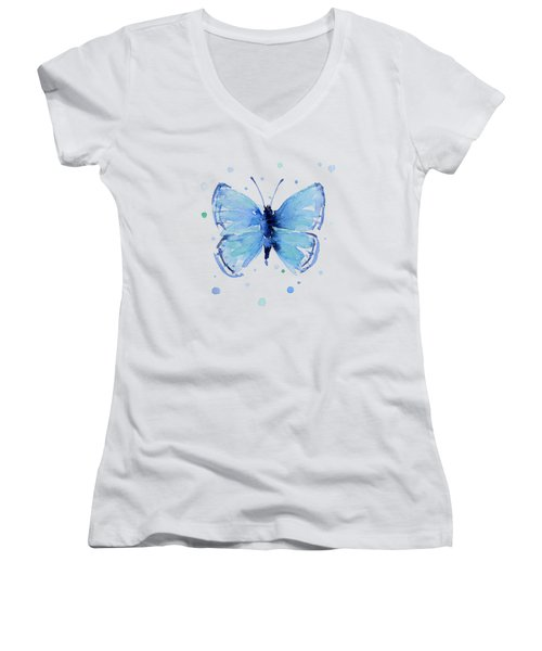 Blue Watercolor Butterfly Women's V-Neck (Athletic Fit)