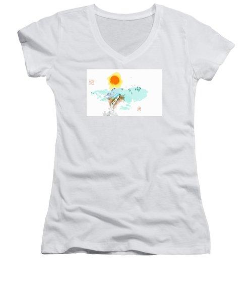Blue Waterfalll Women's V-Neck T-Shirt (Junior Cut) by Debbi Saccomanno Chan