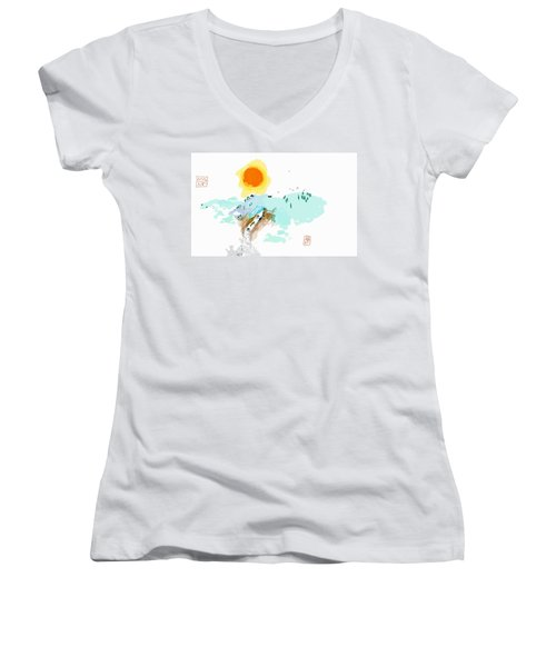 Blue Waterfalll Women's V-Neck T-Shirt (Junior Cut)