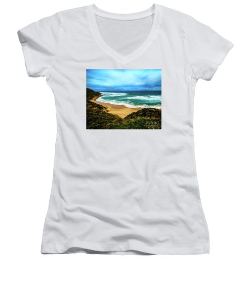 Women's V-Neck T-Shirt (Junior Cut) featuring the photograph Blue Wave Beach by Perry Webster