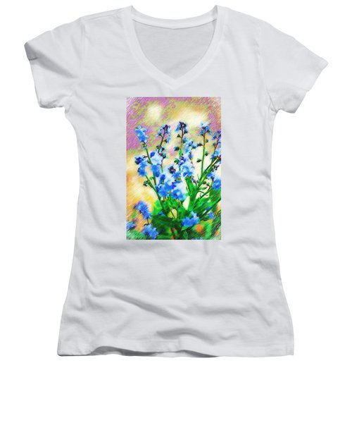 Women's V-Neck T-Shirt (Junior Cut) featuring the photograph Blue Wildflowers by Donna Bentley