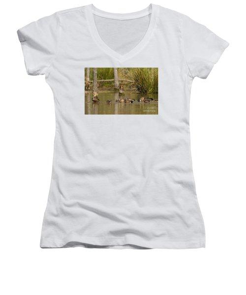 Blue-winged Teal Women's V-Neck T-Shirt